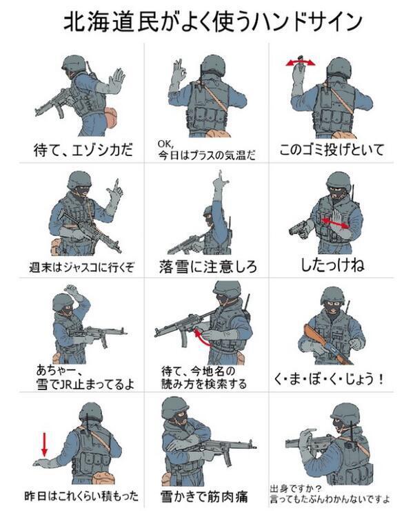 北海道民がよく使うハンドサイン
