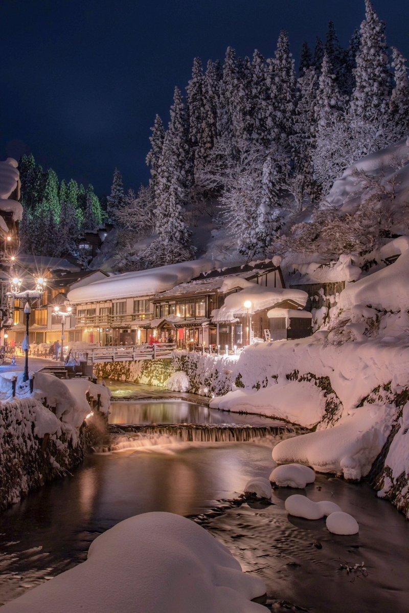 銀山温泉の雪景色