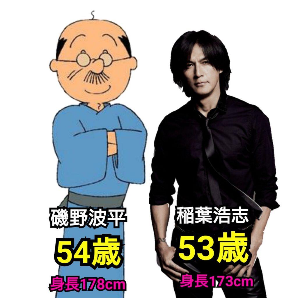 波平さんはB'zの稲葉さんより「1歳年上で身長は5cm高い」