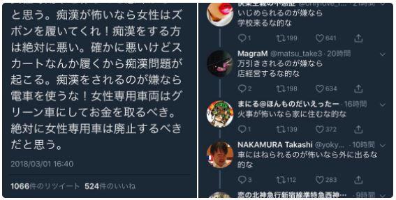 【twitterユーザーの比喩】痴漢犯罪と女性専用車両について