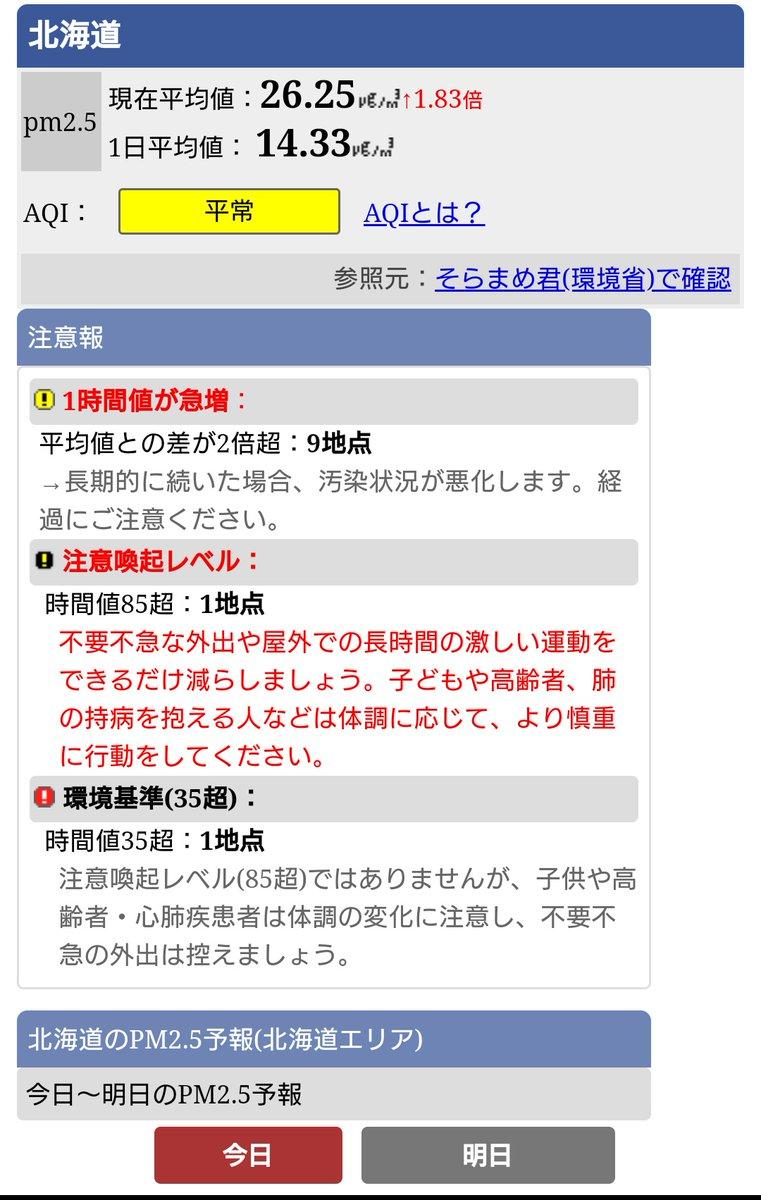 【札幌・北海道】PM2.5が暫定的な注意喚起レベルを超えています!