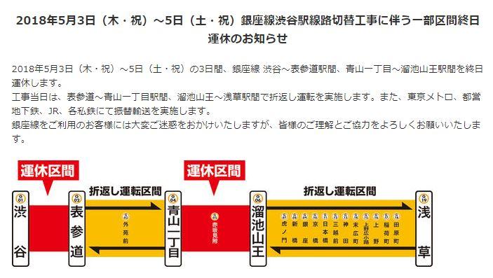 2018年5月3日(木・祝)~5日(土・祝)銀座線渋谷駅線路切替工事に伴う一部区間終日運休のお知らせ