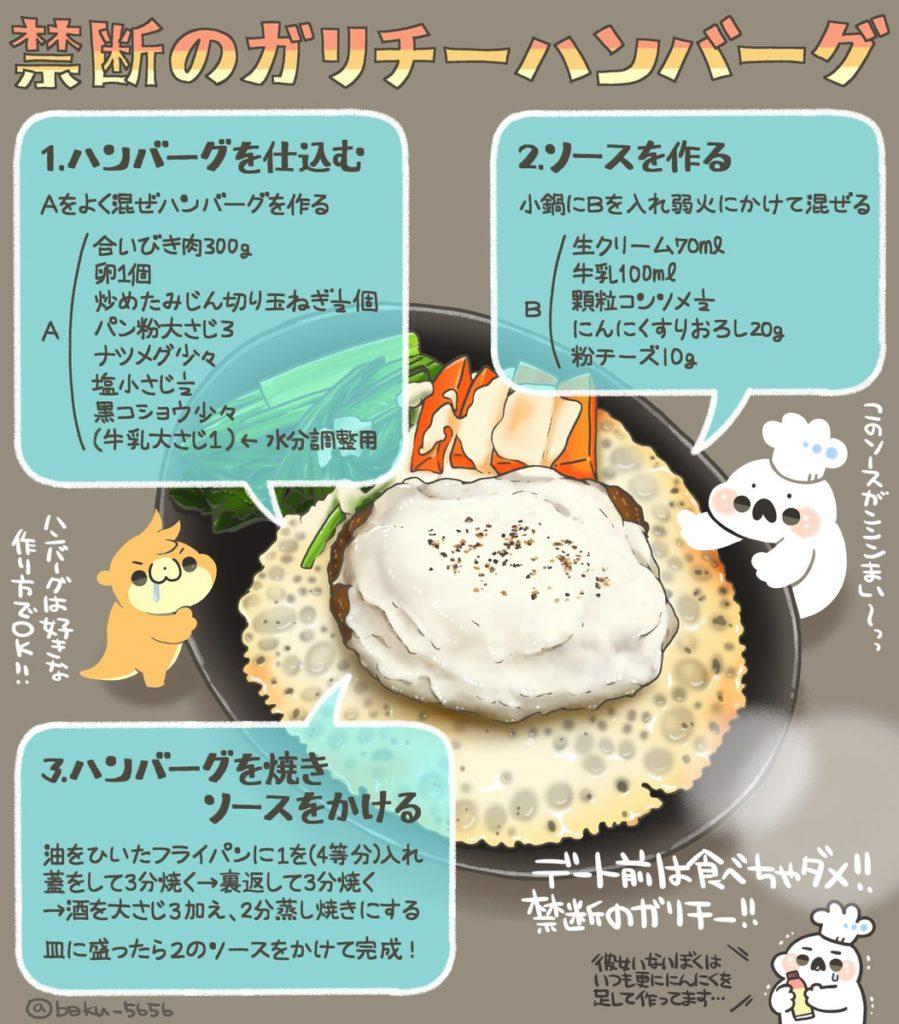 【禁断】ガーリックチーズハンバーグのレシピ