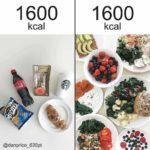 【ダイエット】同じ1600kカロリーでもこのくらいの質と量の違いがある