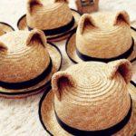 猫耳付き麦わらハット