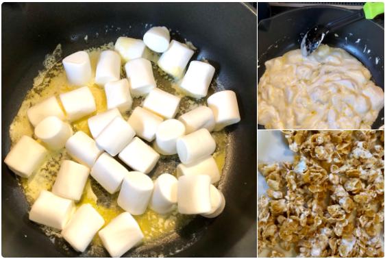 バターにマシュマロを一袋溶かして、無糖のコーンフレークを混ぜる