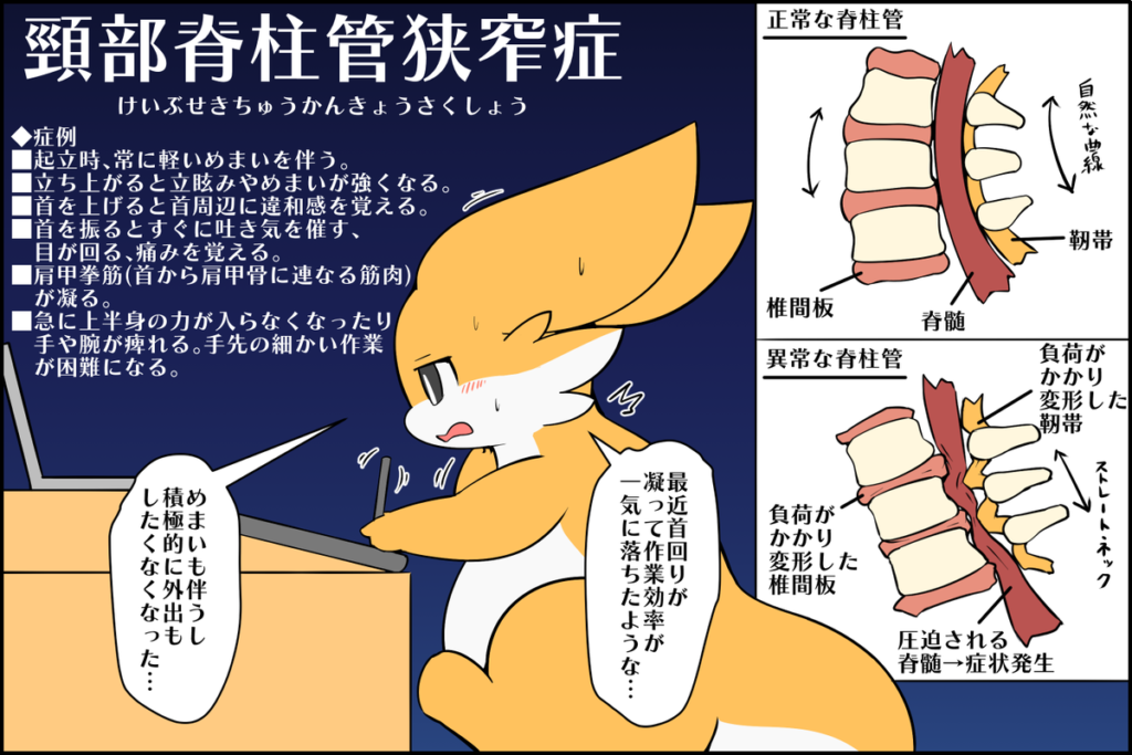 「頸部脊柱管狭窄症」の症例と解消法