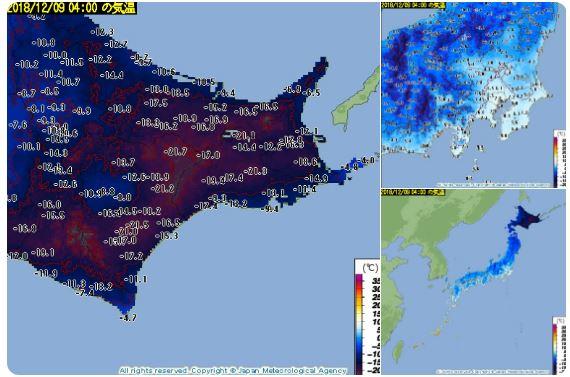 気温分布見たら北海道が黒い…
