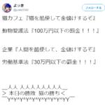 動物愛護法違反は罰金百万円・労働基準法違反は罰金三十万円