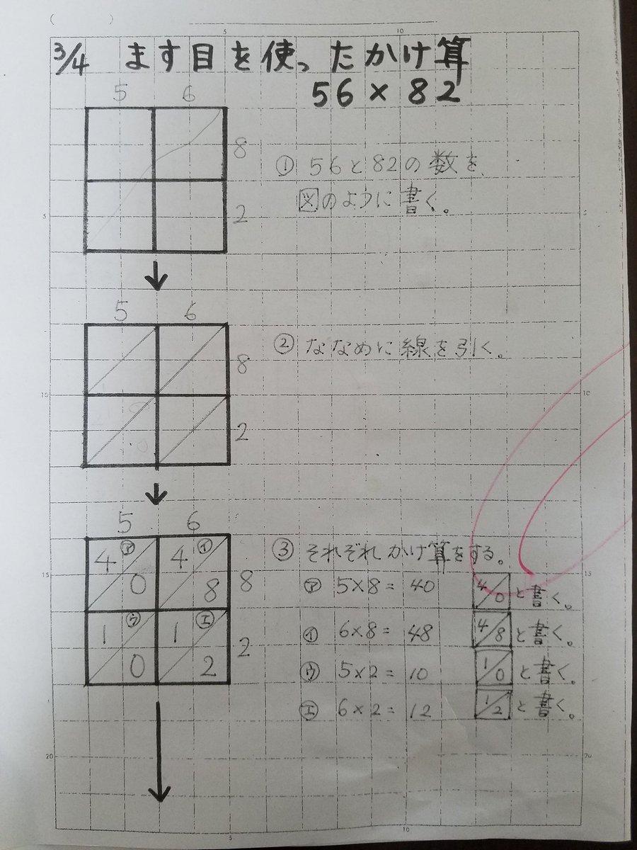 小3の息子の算数プリント、私がみたことない計算の仕方で困惑してる。