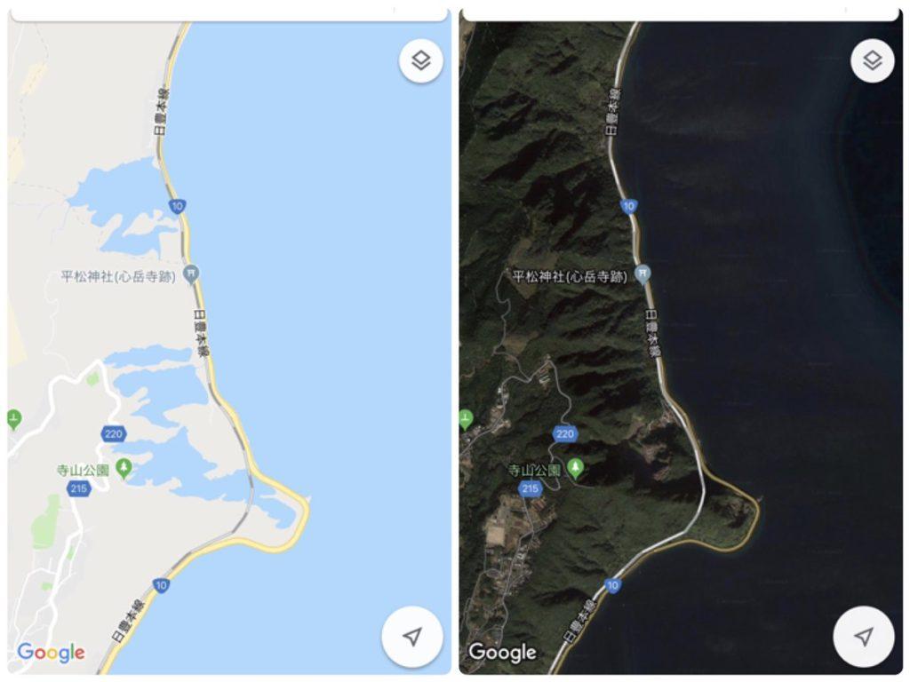 Googleマップが劣化したらしいと聞いて、近所の地図見たら、山影が湖になってた