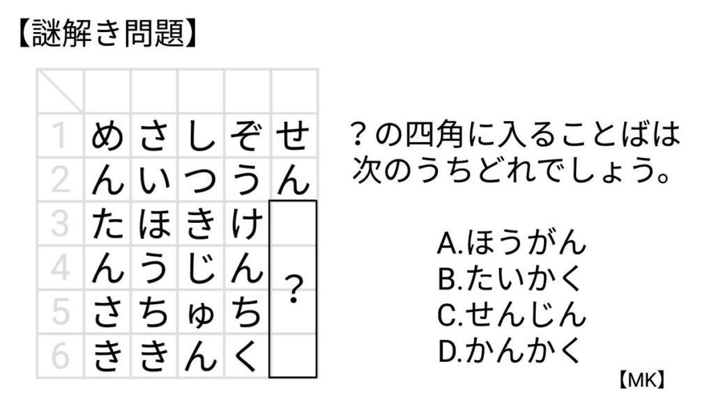 四角に入る言葉は次のうちどれでしょう?