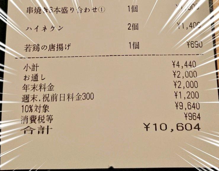 【串荘 新宿店】飲み物と焼き鳥と唐揚げ頼んだだけで1万円請求された件
