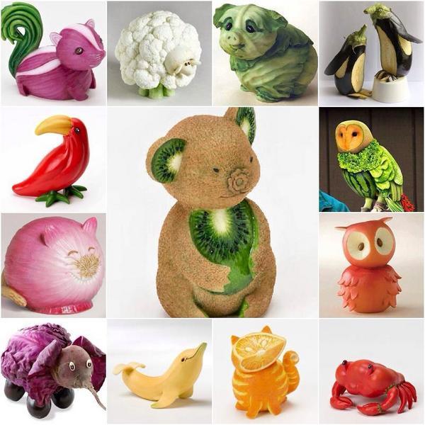 野菜と果物で出来た動物達