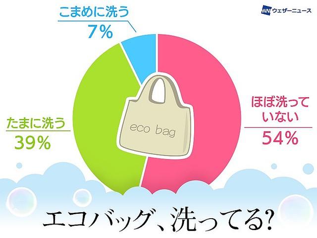 【アンケート】54%の人がエコバック「ほぼ洗わず」