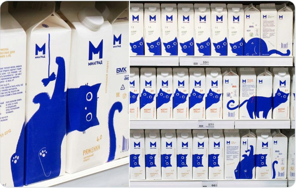 【可愛いニャンコ】ロシアで売られてる牛乳のパッケージ