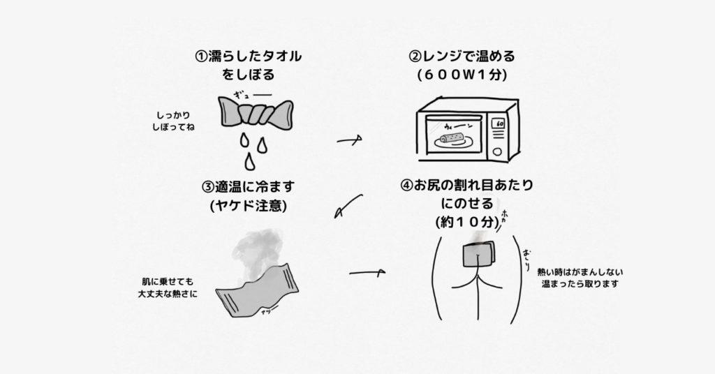 蒸しタオルでお尻を温めると首もじわっと緩んできます。