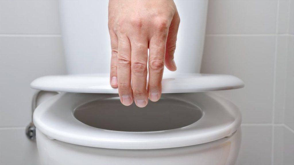 トイレの蓋をせずに大便を流すと、便中微生物がめっちゃ飛びます