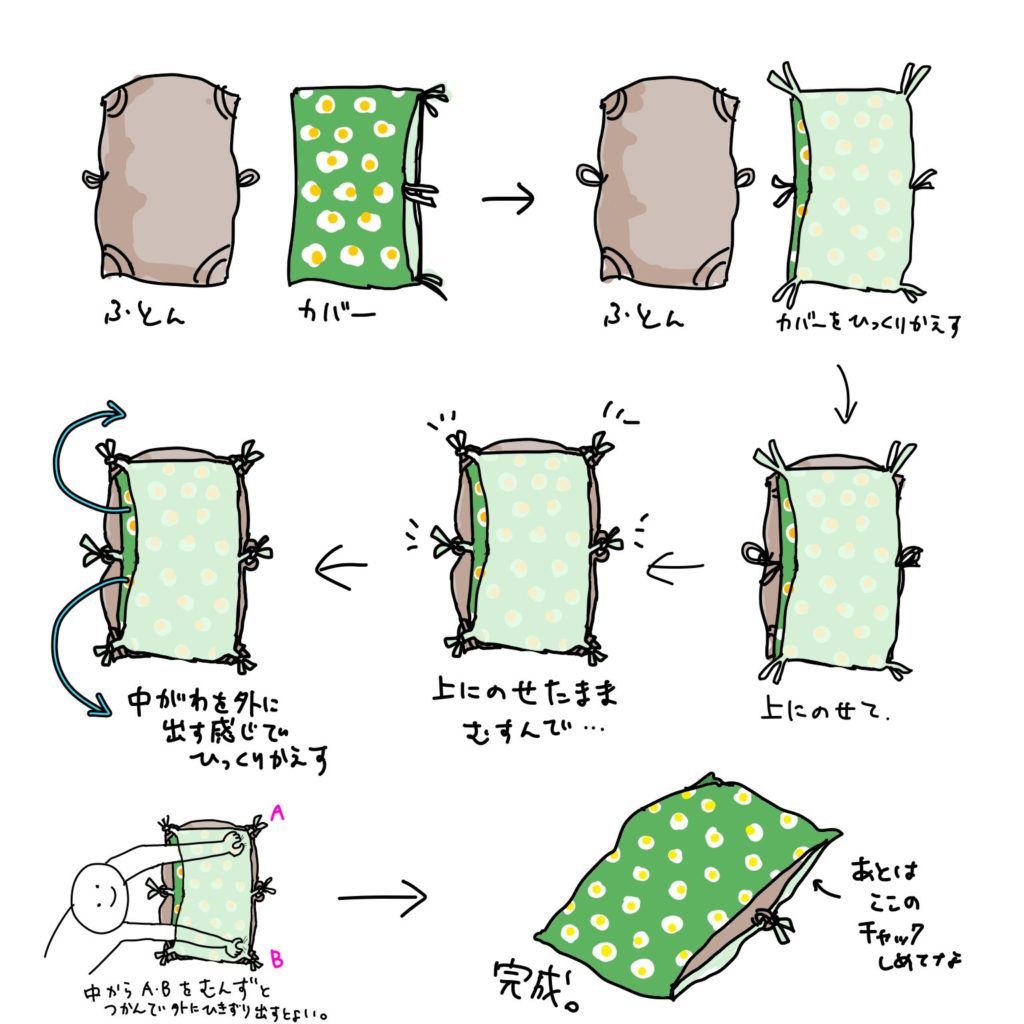 簡単な布団カバーの掛け方
