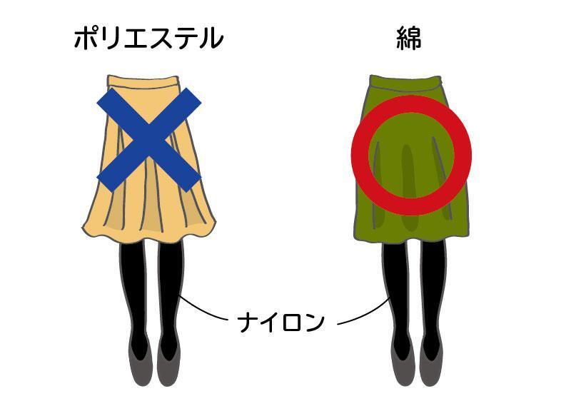静電気が発生しにくい服の上下の組み合わせ