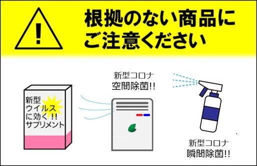 新型コロナウイルスに対する予防効果を標ぼうする商品等の表示に関する改善要請