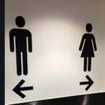 公衆トイレの男女表示は慣れている青と赤がいいと思う。