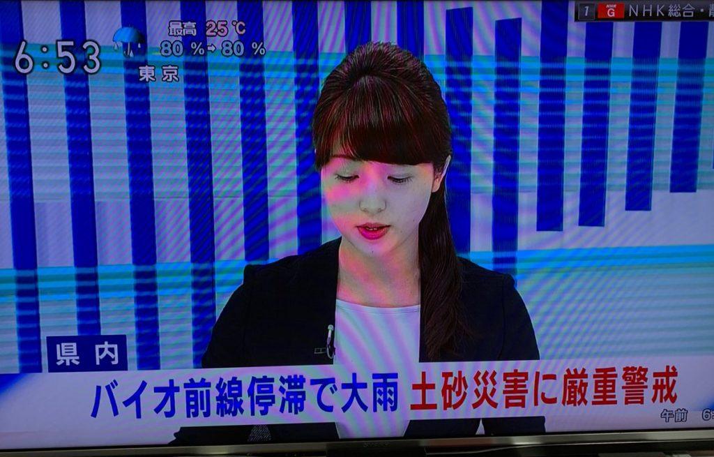静岡県内「バイオ前線停滞で大雨」NHK